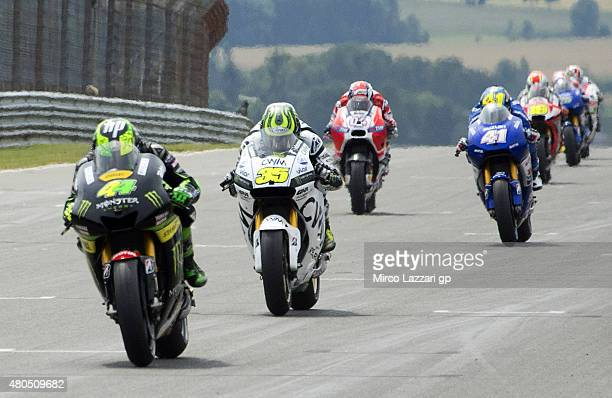 Pol Espargaro of Spain and Monster Yamaha Tech 3 leads the field during the MotoGP race during the MotoGp of Germany Race at Sachsenring Circuit on...