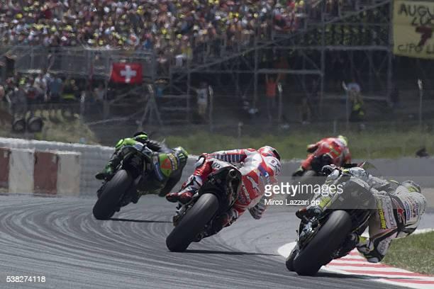 Pol Espargaro of Spain and Monster Yamaha Tech 3 leads the field during the MotoGP race during the MotoGp of Catalunya Race at Circuit de Catalunya...