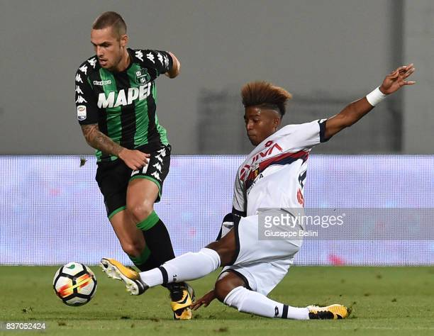 Pol Lirola of US Sassuolo and Eddy Anthony Salcedo of Genoa CFC in action during the Serie A match between US Sassuolo and Genoa CFC at Mapei Stadium...