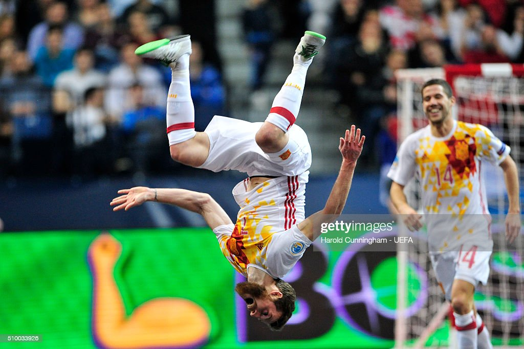 Pola of Spain celebrates scoring his team fourth goal during the UEFA Futsal EURO 2016 final between Russia and Spain at Arena Belgrade on February 13, 2016 in Belgrade, Serbia.