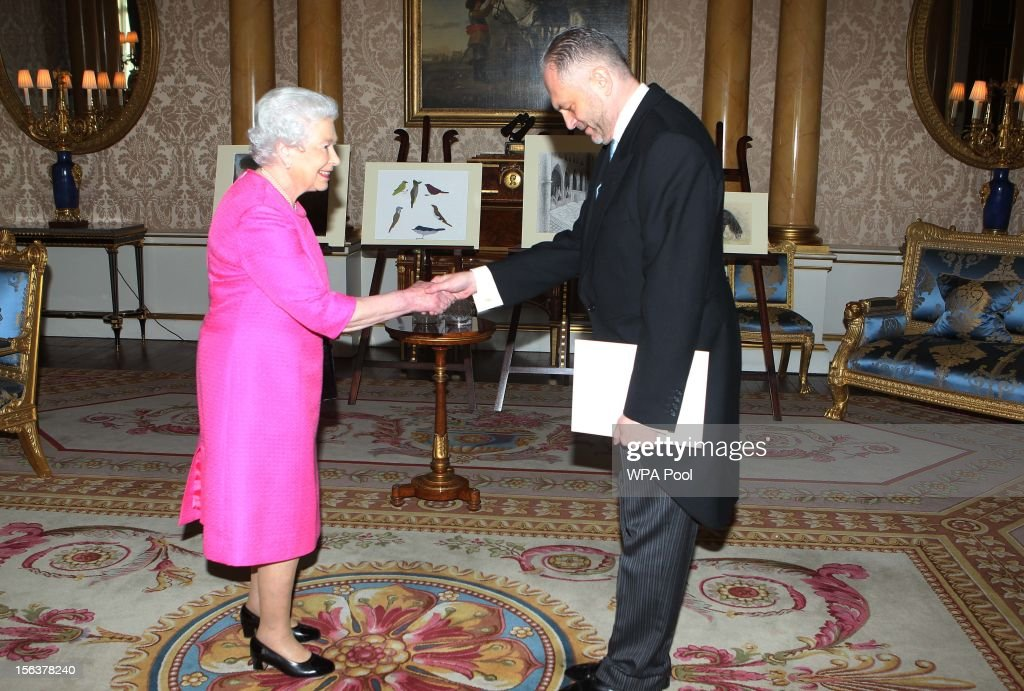Poland Ambassador His Excellency Mr Witold Sobkow, presents his Letter of Credentials to Queen <a gi-track='captionPersonalityLinkClicked' href=/galleries/search?phrase=Elizabeth+II&family=editorial&specificpeople=67226 ng-click='$event.stopPropagation()'>Elizabeth II</a> at Buckingham Palace on November 14, 2012 in London, England.