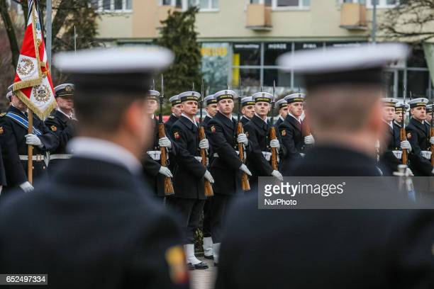 Poland and NATO flag raising ceremony is seen on 12 March 2017 in Gdynia Poland Polish Army celebrates 18th anniversary of joining to NATO Alliance...