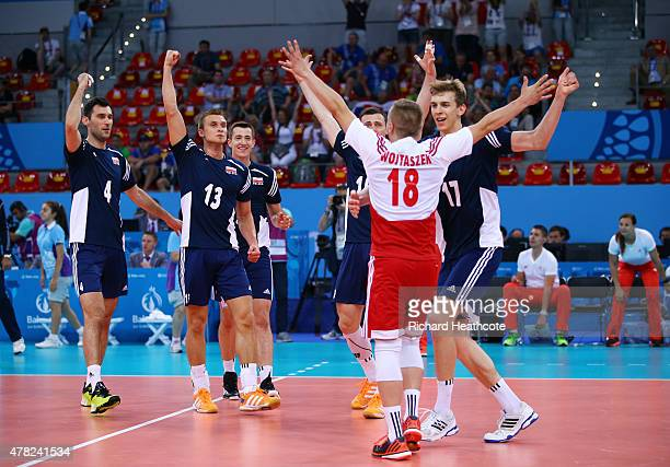 Poland celebrate victory over Slovakia during the Men's Volleyball Quarter Final match on day twelve of the Baku 2015 European Games at the Crystal...