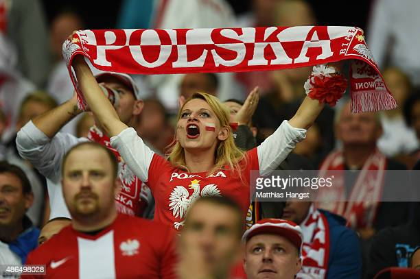 Poland fan cheers during the EURO 2016 Qualifier Group D match between Germany and Poland at CommerzbankArena on September 4 2015 in Frankfurt am...