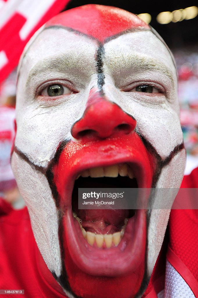 A Poland fan enjoys the atmopshere ahead of the UEFA EURO 2012 group A match between Czech Republic and Poland at The Municipal Stadium on June 16, 2012 in Wroclaw, Poland.
