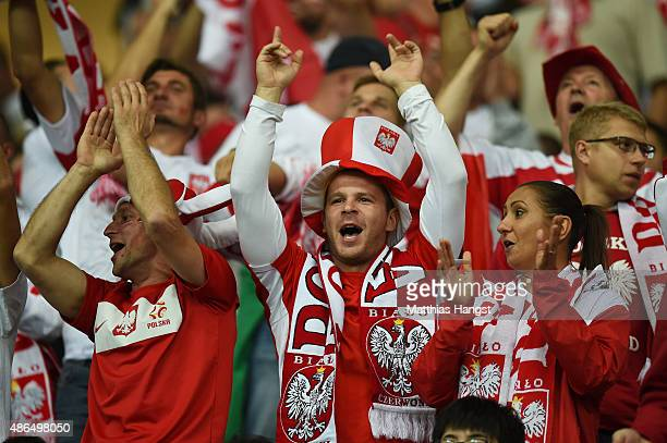 Poland fans cheer during the EURO 2016 Qualifier Group D match between Germany and Poland at CommerzbankArena on September 4 2015 in Frankfurt am...