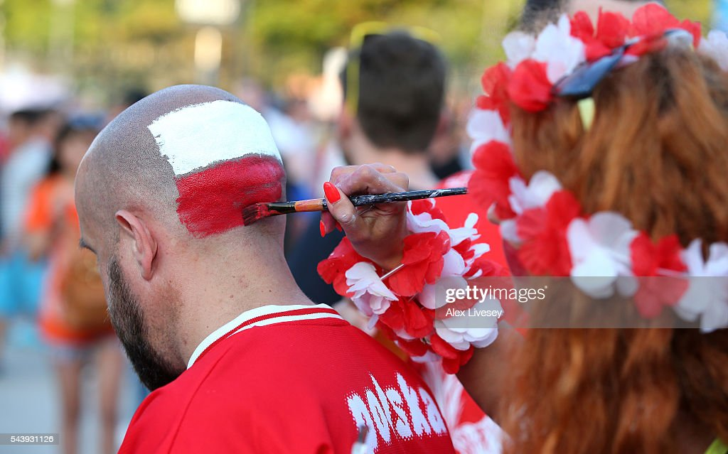 Poland fans enjoy the atmosphere prior to the UEFA EURO 2016 quarter final match between Poland and Portugal at Stade Velodrome on June 30, 2016 in Marseille, France.