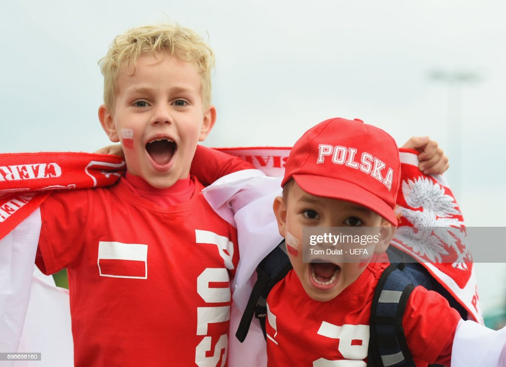 Poland fans enjoy the atmosphere prior to the UEFA European Under-21 Championship match between Poland and Slovakia at Lublin Stadium on June 16, 2017 in Lublin, Poland.