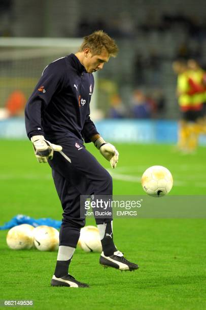 Poland Goalkeeper Artur Boruc warms up before the match