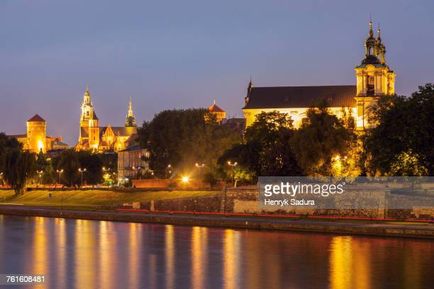Poland, Lesser Poland, Krakow, Church on Rock and Wawel Hill