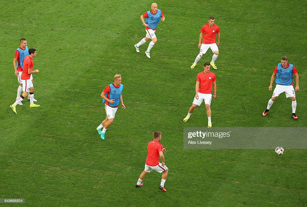 Poland players warm up prior to the UEFA EURO 2016 quarter final match between Poland and Portugal at Stade Velodrome on June 30, 2016 in Marseille, France.