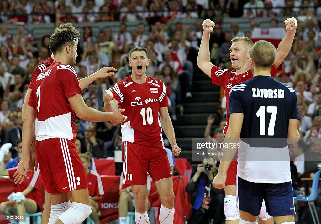Poland team celebrate after winning a point during the FIVB World Championships match between Australia and Poland on September 2, 2014 in Wroclaw, Poland.