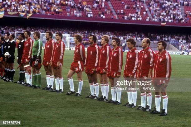 Poland team line up before the match Linesman Gaston E Castro Makuc Referee Jesus Paulino Siles Linesman Enrique Labo Revoredo Poland Wladyslaw Zmuda...