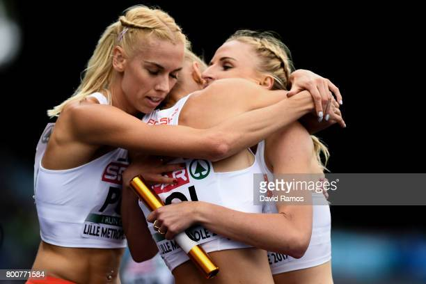 Poland team members celebrate after winning the Women's 4x400m Relay Final during day three of the European Athletics Team Championships at the Lille...