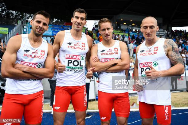 Poland team members pose after winning the Men's 4x400m Relay Final during day three of the European Athletics Team Championships at the Lille...