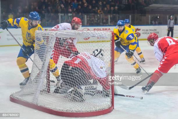 Poland vs Ukraine during an EURO ICE Hockey tournament match at Spodek Arena in Katowice On Friday 10 February 2017 in Katowice Poland The Polish...