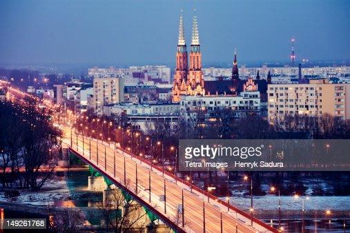 Poland, Warsaw, View over Vistula River towards Praga, Slasko-Dabrowski Bridge on foreground