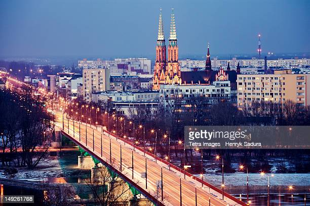 Poland, Warsaw, View over Vistula River towards Praga, Slasko-Dabrowski Bridge on foreground