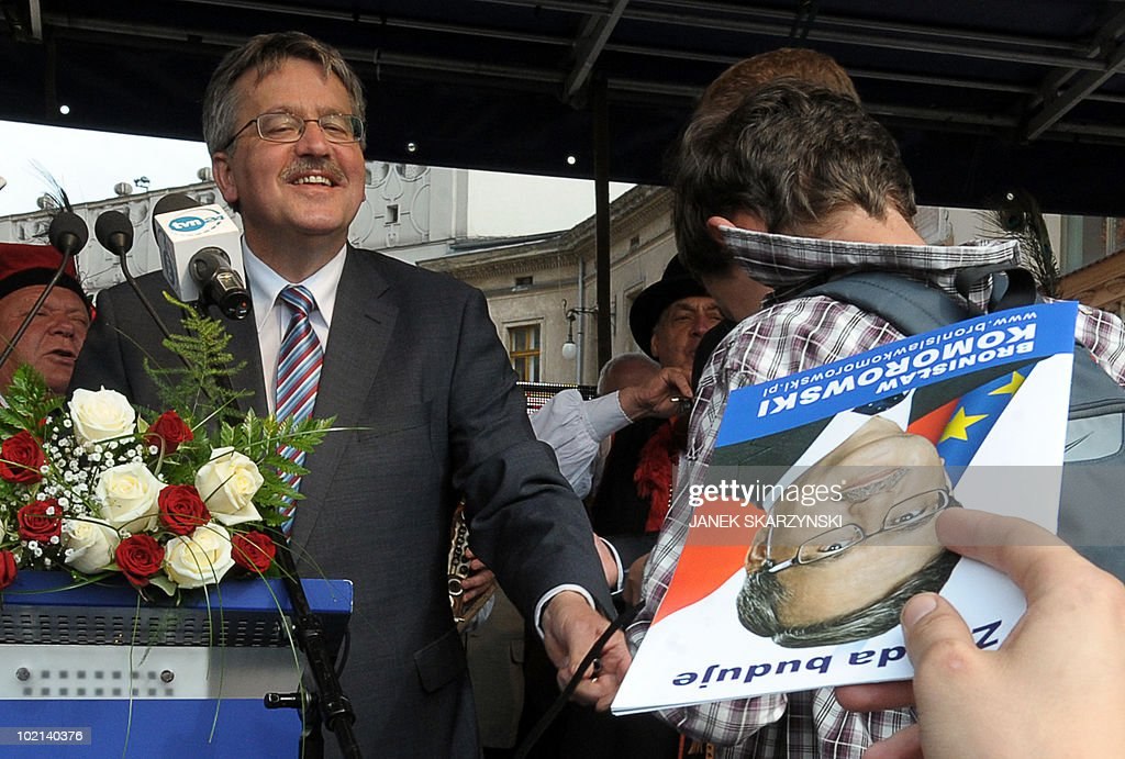 Poland's acting president Bronislaw Komorowski attends electoral rally on June 16, 2010 in Krakow. Liberal candidate Komorowski scored a 14 percentage point lead on his conservative rival Jaroslaw Kaczynski in poll published today, four days ahead of Poland's snap presidential poll Sunday.