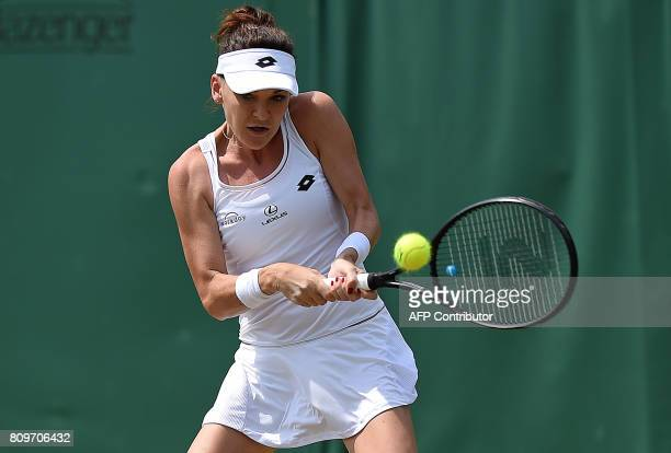 Poland's Agnieszka Radwanska returns against US player Christina McHale during their women's singles second round match on the fourth day of the 2017...