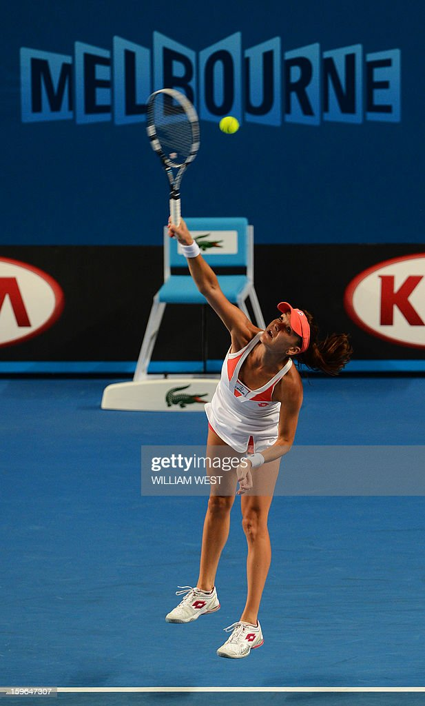 Poland's Agnieszka Radwanska serves during her women's singles match against Heather Watson of Britain on the fifth day of the Australian Open tennis tournament in Melbourne on January 18, 2013.