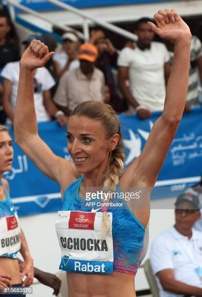 Poland's Angelika Cichocka celebrates after winning the 1500m race at the IAAF Diamond League Mohammed VI Athletics meeting in Rabat on July 16 2017...