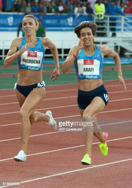 Poland's Angelika Cichocka runs to win the 1500m race as Morocco's Rababe Arafi takes second place at the IAAF Diamond League Mohammed VI Athletics...