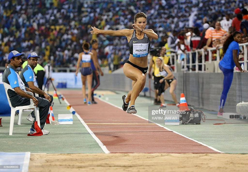 Poland's Anna Jagaciak competes in the women's triple jump event at the Diamond League athletics competition at the Suhaim bin Hamad Stadium in Doha on May 6, 2016. / AFP / KARIM