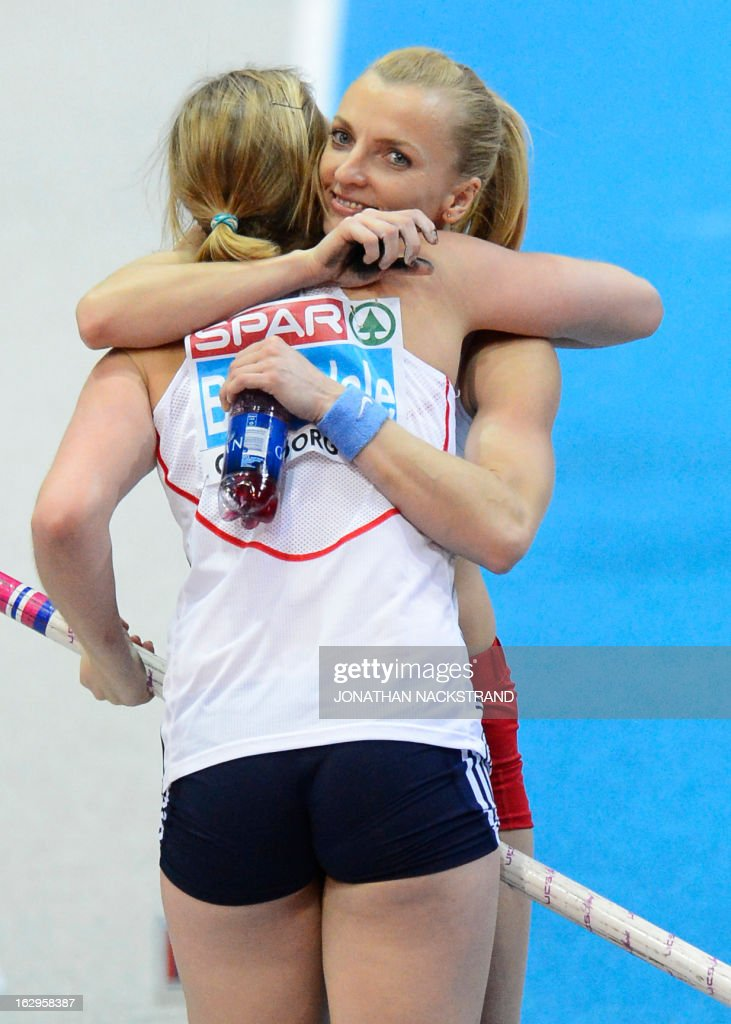 Poland's Anna Rogowska (R) who placed 2nd congratulates Great Britain's Holly Bleasdale on winning in the women's Pole Vault final at the European Indoor athletics Championships in Gothenburg, Sweden, on March 2, 2013.