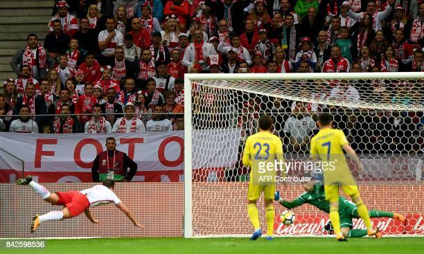 Poland's Arkadiusz Milik score a goal during the FIFA World Cup 2018 qualification match between Poland and Kazakhstan in Warsaw on September 4 2017...
