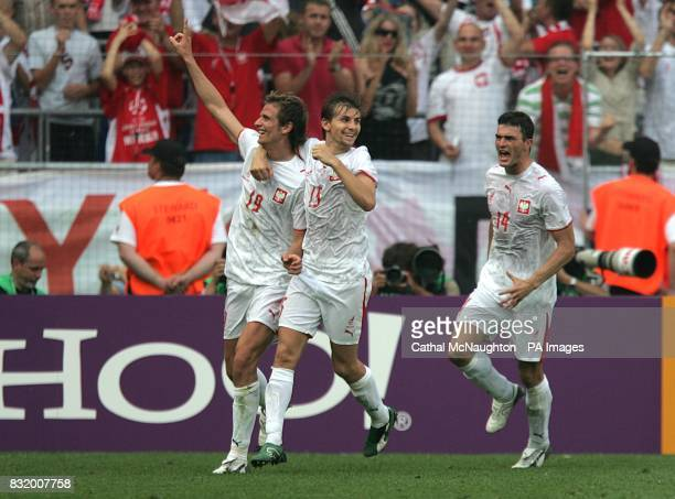 Poland's Bartosz Bosacki celebrates after scoring his second goal of the game