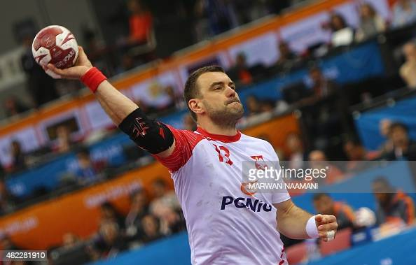 Poland's Bartosz Jurecki attempts a shot on goal during the 24th Men's Handball World Championships Eighth Final EF2 match between Poland and Sweden...
