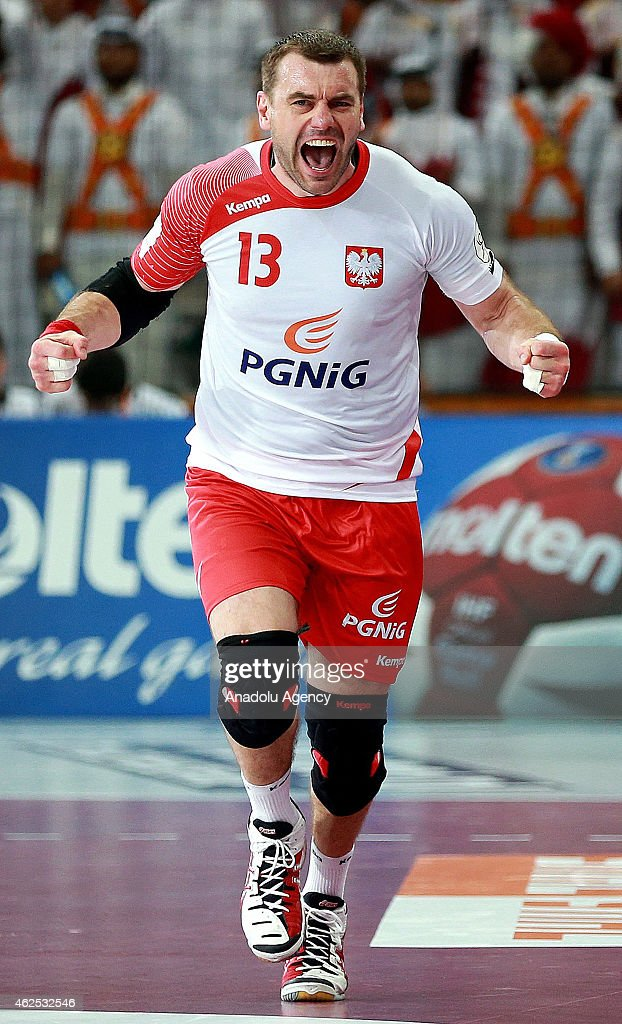 Poland's <a gi-track='captionPersonalityLinkClicked' href=/galleries/search?phrase=Bartosz+Jurecki&family=editorial&specificpeople=784556 ng-click='$event.stopPropagation()'>Bartosz Jurecki</a> celebrates after a position during the 24th Men's Handball World Championships semifinal handball match between Poland and Qatar at the Lusail Sports Arena in Doha, Qatar on January 30, 2015.