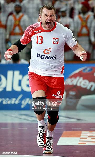 Poland's Bartosz Jurecki celebrates after a position during the 24th Men's Handball World Championships semifinal handball match between Poland and...