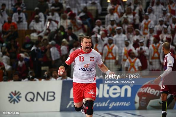 Poland's Bartosz Jurecki celebrates after scoring a goal during the 24th Men's Handball World Championships semifinals match between Qatar and Poland...