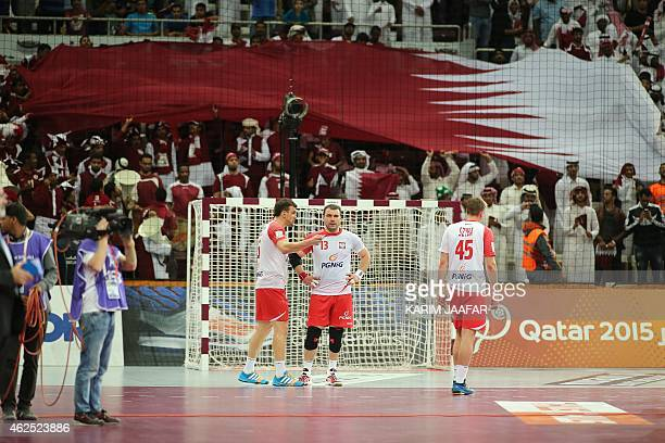 Poland's Bartosz Jurecki looks on after their loss during the 24th Men's Handball World Championships semifinals match between Qatar and Poland at...