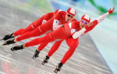 Poland's bronze medallists compete in the Ladies' Speedskating team pursuit final B at the Richmond Olympic Oval in Richmond outside Vancouver during...