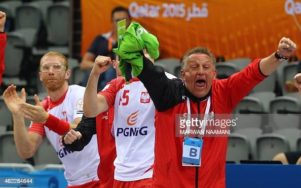 Poland's coach Michael Biegler celebrates their win during the 24th Men's Handball World Championships Eighth Final EF2 match between Poland and...