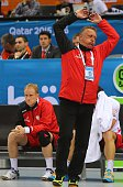 Poland's coach Michael Biegler gestures during the 24th Men's Handball World Championships Eighth Final EF2 match between Poland and Sweden at the...