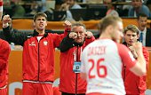 Poland's coach Michael Biegler gestures during the 24th Men's Handball World Championships semifinals match between Qatar and Poland at the Lusail...