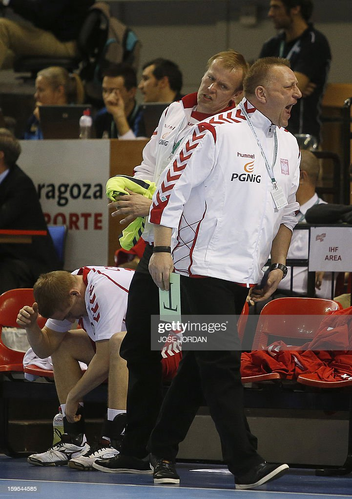 Poland's coach Michael Biegler reacts after being defeated by Slovenia during the 23rd Men's Handball World Championships preliminary round Group C match Slovenia vs Poland at the Pabellon Principe Felipe in Zaragoza on January 15, 2013.