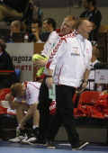 Poland's coach Michael Biegler reacts after being defeated by Slovenia during the 23rd Men's Handball World Championships preliminary round Group C...