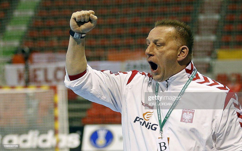 Poland's coach Michael Biegler reacts during the 23rd Men's Handball World Championships preliminary round Group C match Saudi Arabia vs Poland at the Pabellon Principe Felipe in Zaragoza on January 14, 2013.
