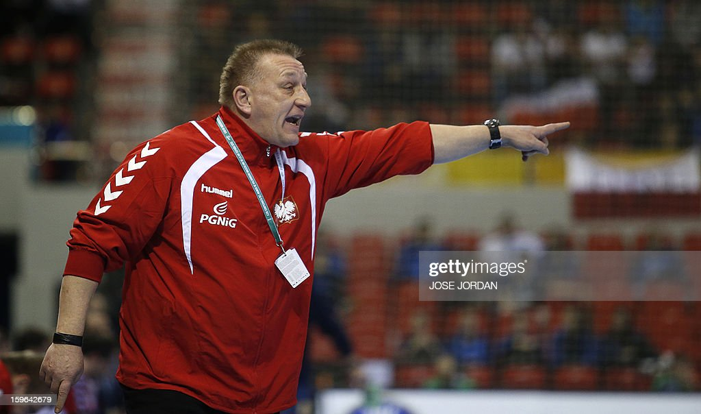 Poland's coach Michael Biegler reacts during the 23rd Men's Handball World Championships preliminary round Group C match Poland vs Serbia at the Pabellon Principe Felipe in Zaragoza on January 17, 2013.