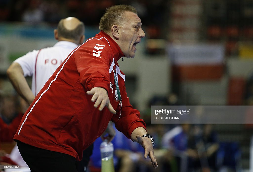 Poland's coach Michael Biegler reacts during the 23rd Men's Handball World Championships preliminary round Group C match Poland vs South Korea at the Pabellon Principe Felipe in Zaragoza on January 19, 2013.