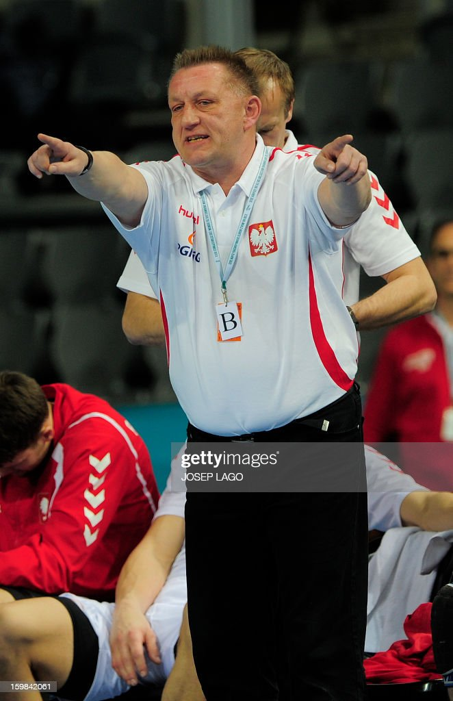 Poland's coach Michael Biegler reacts during the 23rd Men's Handball World Championships round of 16 match Hungary vs Poland at the Palau Sant Jordi in Barcelona on January 21, 2013.