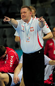Poland's coach Michael Biegler reacts during the 23rd Men's Handball World Championships round of 16 match Hungary vs Poland at the Palau Sant Jordi...