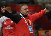 Poland's coach Michael Biegler reacts on the sidelines during the 24th Men's Handball World Championships preliminary round Group D match between...