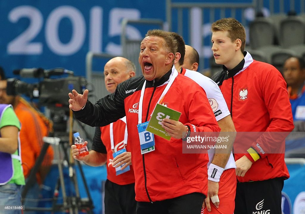 Poland's coach Michael Biegler shouts during the 24th Men's Handball World Championships quarterfinals match between Poland and Croatia at the Ali...