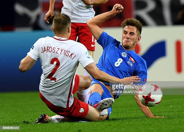 Poland's defender Pawel Jaroszynski and Slovakia's midfielder Martin Chrien vie for the ball during the UEFA U21 European Championship Group A...